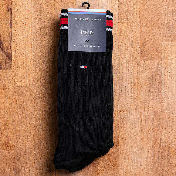Ponožky Tommy Hilfiger Iconic Sock Sports 2 Pair Black 372020001 200