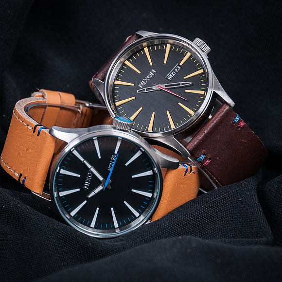 Hodinky Nixon Sentry Leather Black Brown A105019