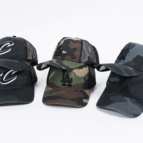 Dětská Kšiltovka New Era Trucker Washed Camo Cleveland Cavaliers 9FORTY Youth Marine Navy Camo Snapb