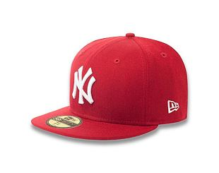 Kšiltovka New Era 59FIFTY MLB Basic New York Yankees Fitted Scarlet / White Log