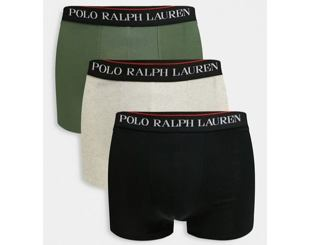 Boxerky Polo Ralph Lauren Classic Trunks 3Pack Black/Olive/Grey