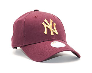 Dámská Kšiltovka New Era Essential New York Yankees 9FORTY Maroon/Gold Strapback