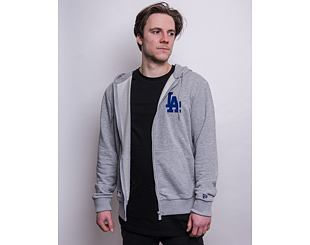 Mikina New Era MLB Logo Full Zip Hoody Los Angeles Dodgers Light Grey Heather