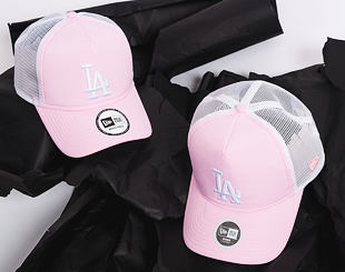 Dámská Kšiltovka New Era Oxford A Frame Trucker Los Angeles Dodgers 9FORTY Pink/White Snapback