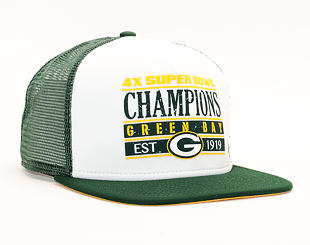Kšiltovka 9FIFTY New Era Trucker Green Bay Packers Champions White/OTC Snapback