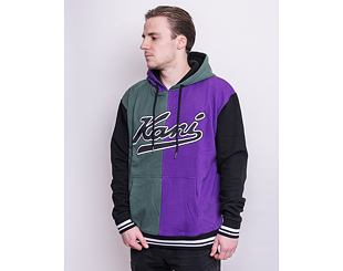 Mikina Karl Kani Varsity Block Hoodie - Dark Green/Purple 6093156