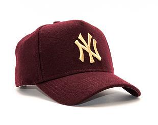 Dámská Kšiltovka New Era Melton A-Frame New York Yankees 9FORTY Maroon Gold Snapback