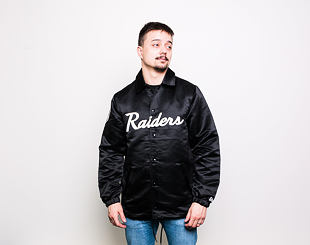 Bunda New Era Oakland Raiders Satin Coaches Jacket Black