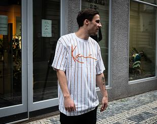 Triko Karl Kani 6069898 Signature Pinstripe Tee White/Orange/Black
