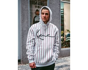 Mikina Karl Kani Signature Pinstripe Hoodie White/Black/Red 6093162
