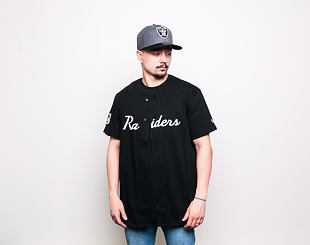 Triko New Era Oakland Raiders Script Button Up Black