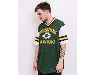 Triko New Era NFL Stripe Sleeve Oversized Tee Green Bay Packers Cilantro Green