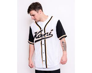 Dres Karl Kani Varsity Block Baseball Shirt White/Black/Orange - 6035404