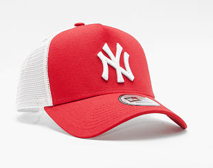 Kšiltovka New Era 9FORTY A-Frame Trucker New York Yankees Clean Trucker 2 Scarlet/White