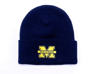 Kulich Mitchell & Ness INTL534 Team Logo Cuff Knit Michigan Wolverines