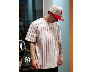 Triko Karl Kani Small Signature Pinstripe Tee White/Black/Red 6030139