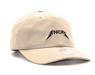 Kšiltovka Mitchell & Ness Rock Font Dad Hat New York Knicks Khaki Strapback