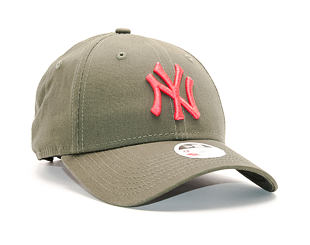 Dámská Kšiltovka New Era League Essential New York Yankees 9FORTY New Olive/Lava Red Strapback