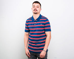 Triko Guess Hugo SS Polo Blue/Red-White Stripe Heavy S79B