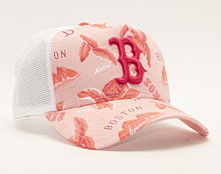 Kšiltovka New Era 9FORTY A-Frame Trucker Boston Red Sox Desert Island Pink/White