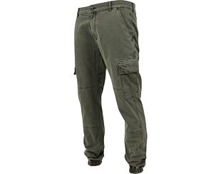 Kalhoty Urban Classic TB1435 Washed Cargo Twill Jogging Pants Olive