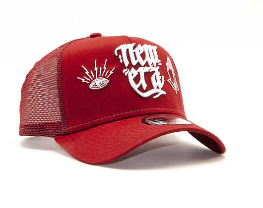 Kšiltovka New Era 9FORTY A-Frame Trucker Script Red/White