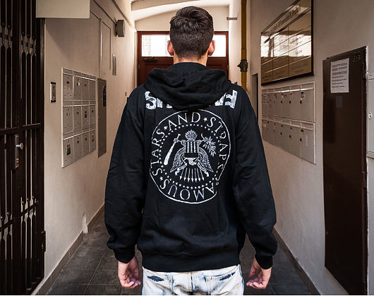 Mikina s kapucí Famous Stars and Straps Influx Zip-Up Hoody Black