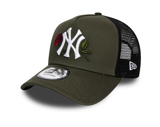 Kšiltovka New Era 9FORTY New York Yankees A-Frame Twine Trucker New Olive