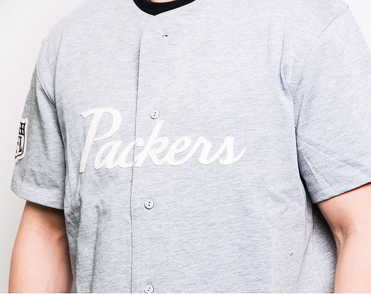 Triko New Era Green Bay Packers Script Button Up Light Gray Heather