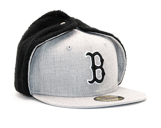 Kšiltovka S Klapkami New Era Premium Dog Ear Boston Red Sox 59FIFTY Heather Grey/Black
