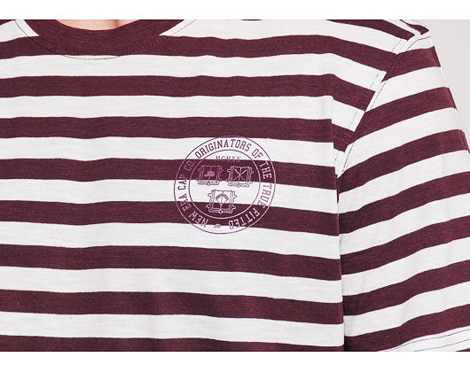 Triko New Era Ne College Pack Stripped Tee Maroon/White