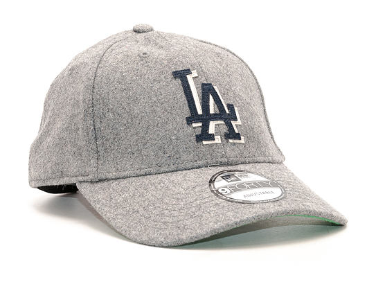 Kšiltovka New Era Wool Felt Logo Los Angeles Dodgers Grey 9FORTY Strapback