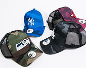 Kšiltovka New Era 9FORTY A Frame Trucker Camo New York Yankees Navy Camo/White Snapback